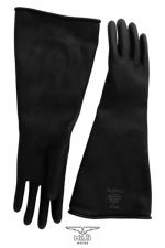 Gants type industriel en latex - Solide paire de gants noir en latex de caoutchouc pour un look industriel et les pratiques BDSM les plus extrêmes.