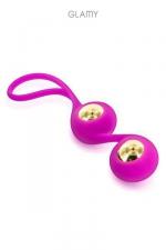Gold Love Balls - Petit stimulateur anal avec billes amovibles en acier plaqué or 18 carats, marque Glamy.